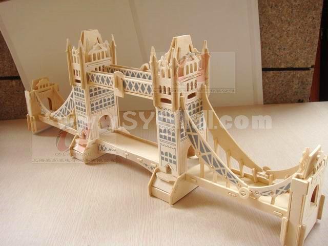Creative DIY 3D Wooden Jigsaw Puzzle Model -London Tower Bridge