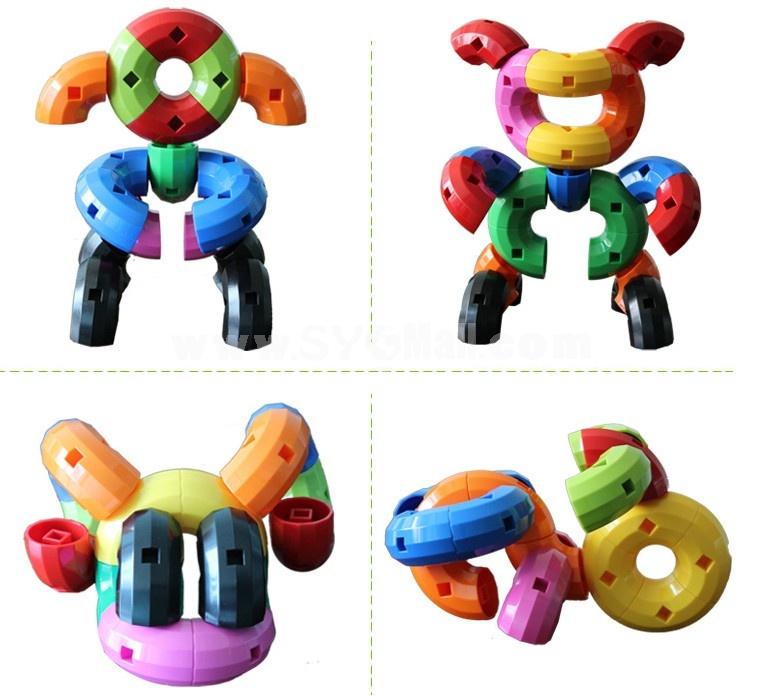 48 pcs Plastic Bent Tubes Toy Educational Toy Children's Gift