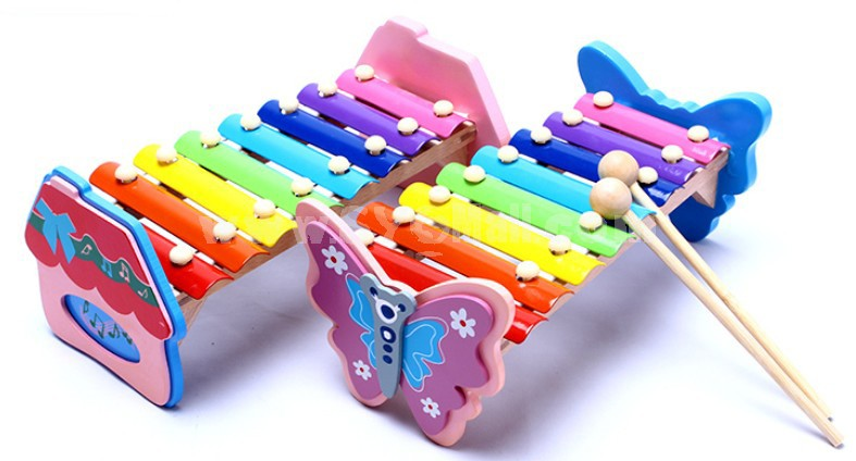 Butterfly/Cabin Kids Piano Wooden Serinette Educational Toy Children's Gift