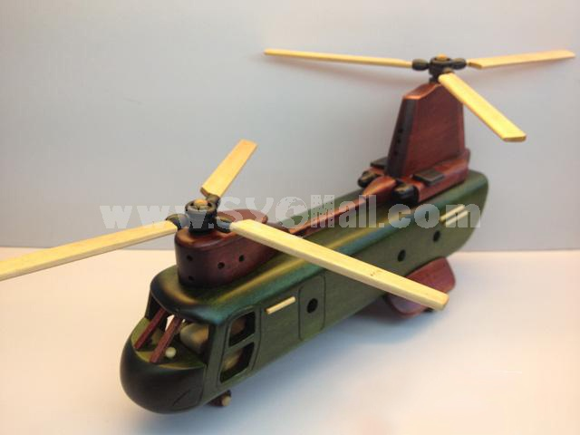Handmade Wooden Decorative Home Accessory Vintage Helicopter Model