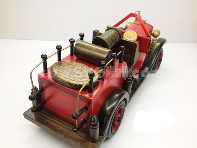 Handmade Wooden Decorative Home Accessory Vintage Fire Truck Model