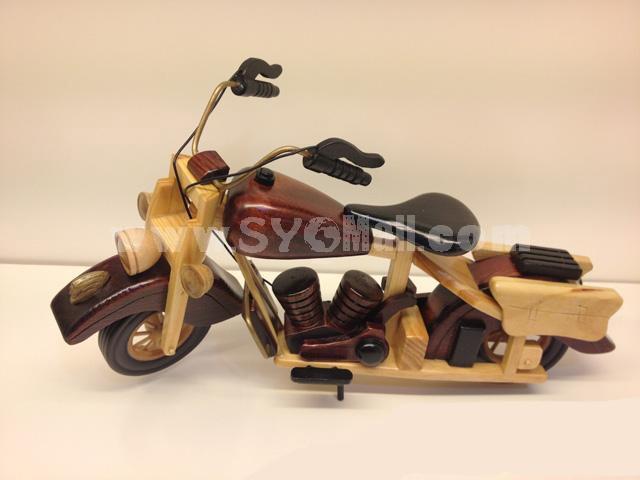 Handmade Wooden Decorative Home Accessory Vintage Motorbike Model