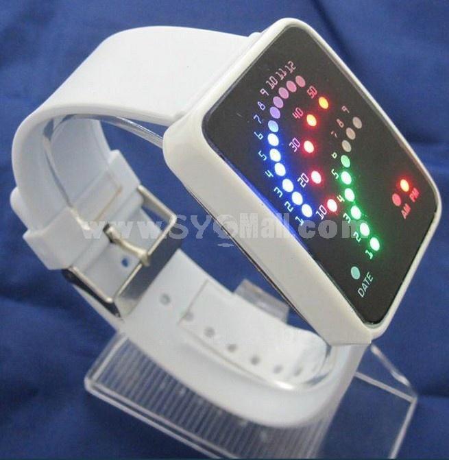 LED Sports Waterproof Watch Unisex Blue Backlit Fan Dial