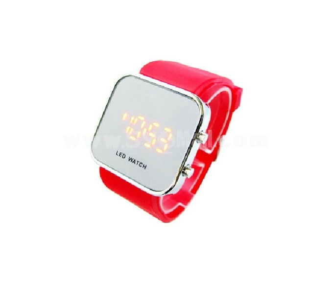 LED Mirror Digital Casual Sports Watch for Men and Women with Silicone Jelly Band