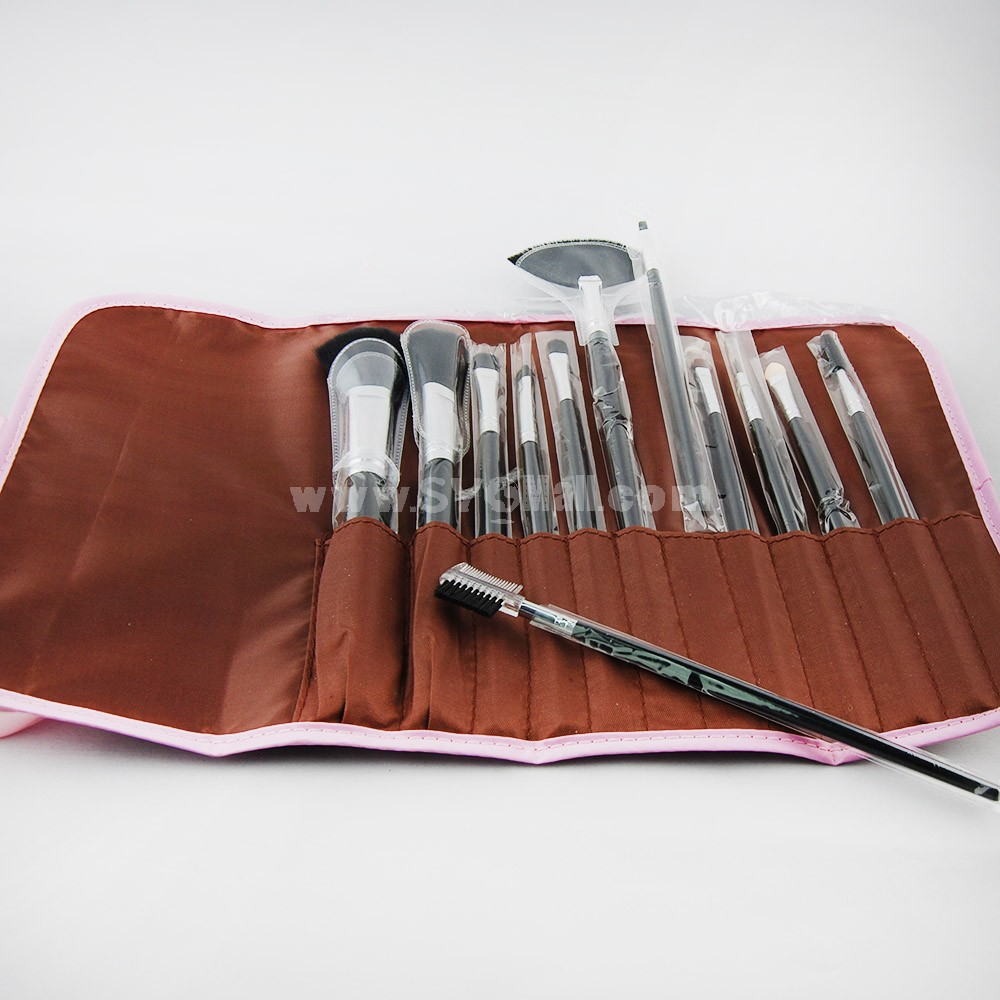 12pcs Professional Nylon Hair Comestic Brushes Makeup Set Soft PU Bag Free Shipping