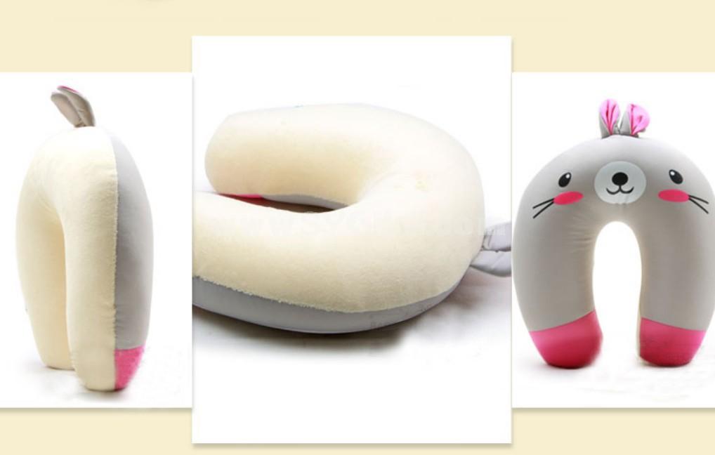 Comfort Foam Particles U Neck Travel Pillow Cute Cartoon Pattern - Rabbit