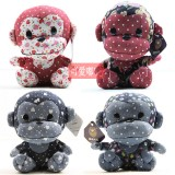 Wholesale - Floral Coloth Monkey Plush Toy Stuffed Animal