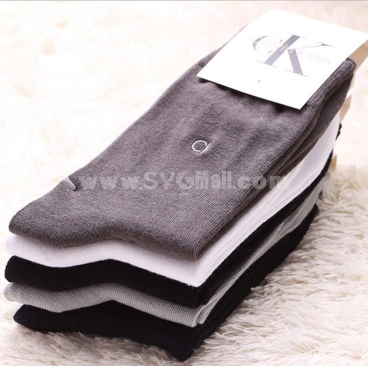 Free Shipping Classiv Pattern Soild Color Cotton Business Casual Men's Long Socks Wholesale 20Pairs/Lot One Color