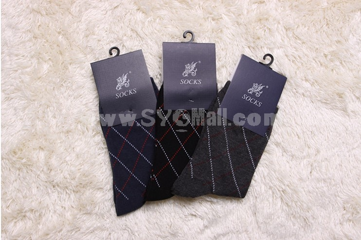 Free Shipping LR Diamond Pattern Cotton Business Casual Men's Long Socks Wholesale 12Pairs/Lot One Color