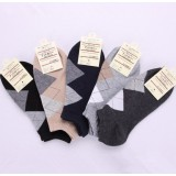 Wholesale - Classic Diamond Pattern Summer Men's Invisible Soild Color Causal Ankle Socks Boat Socks 20 Pairs/Lot One Color