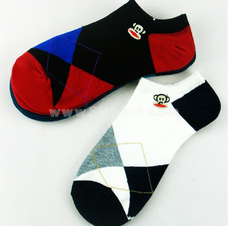 Free Shipping Classic Diamond Pattern Summer Men's Invisible Soild Color Boat Socks 10 Pairs/Lot One Color