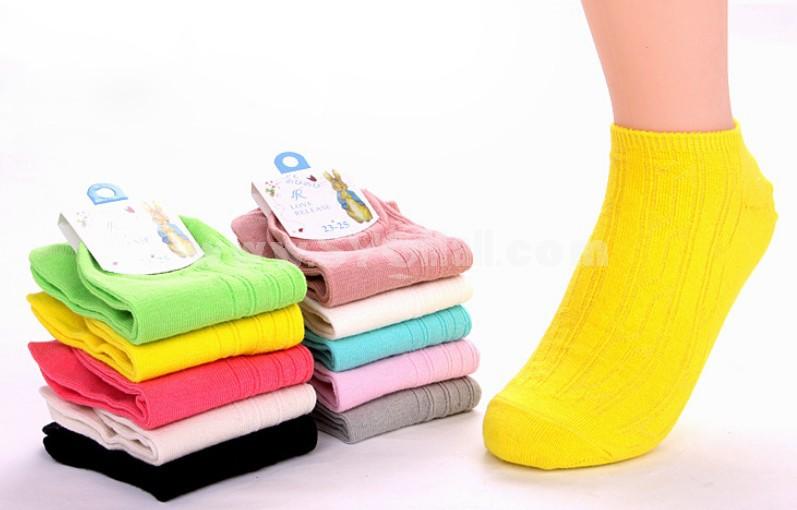 Free Shipping Retro Rabbit Solid Color Women Cute Cotton Socks 12Pairs/Lot