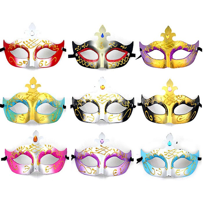 10pcs Halloween/Custume Party Mask with Gold Dust Half Face