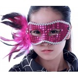 Wholesale - Halloween/Custume Party Mask Decorated with Feather and Sequins Half Face
