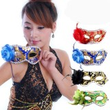 Wholesale - 2pcs Halloween/Custume Party Mask Decorated with Feather and Rose Flower Half Face