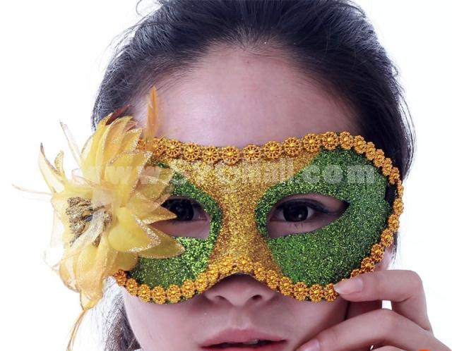 Halloween/Custume Party Mask Flower Mask Decorated with Fold Dust Half Face