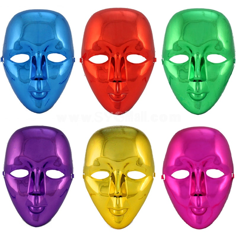 2pcs Halloween/Custume Party Mask Electroplating Solid Colored Mask Full Face