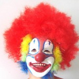 Wholesale - Halloween/Christmas Masquerade Mask Custume Mask - Latex Clown Mask with Red Afro-look Wig