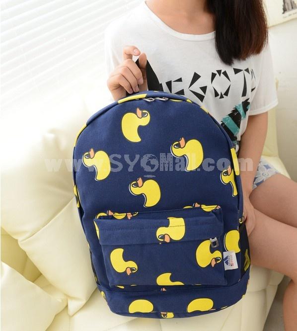 Cartoon Yellow Duck Nylon Backpack
