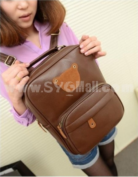 Korean Cute Bear Pattern PU Backpack