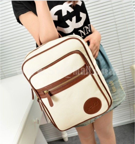 Vintage Style Solid colorde Pu Backpack Female