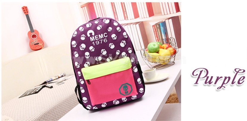 Fashion Skull Painted Candy Color Backpack Schoolbag