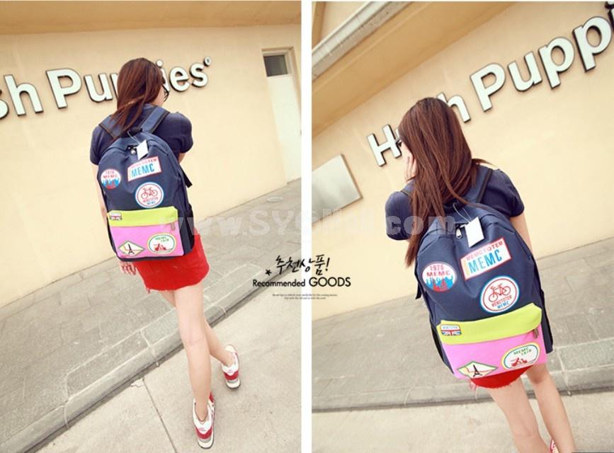 MEMC Badge Painting Painting Backpack Schoolbag