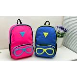 Wholesale - Korean Cute Cartoon Glasses Nylon Backpack Schoolbag