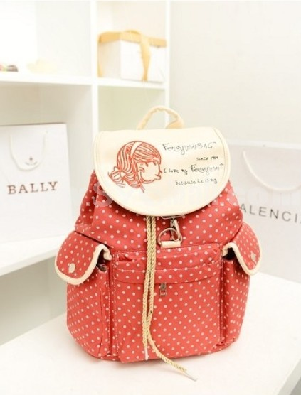 Sweety Simple Pot Design Canvas Backpack Schoolbag