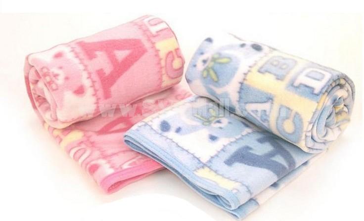 Cute Cartoon ABC Bear Pola Fleece Air-cndition Blanket Children Blanket