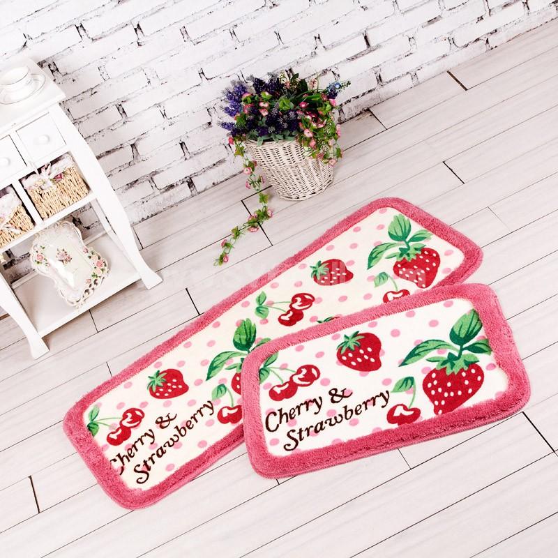 Cute Strawberry & Cherry Non-Slip Acrylic Mat E588 Short Pattern 65*45cm