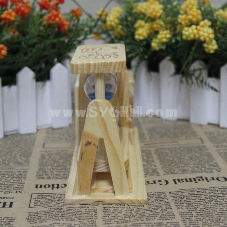 Decorative Wooden Hourglass Pen Pot