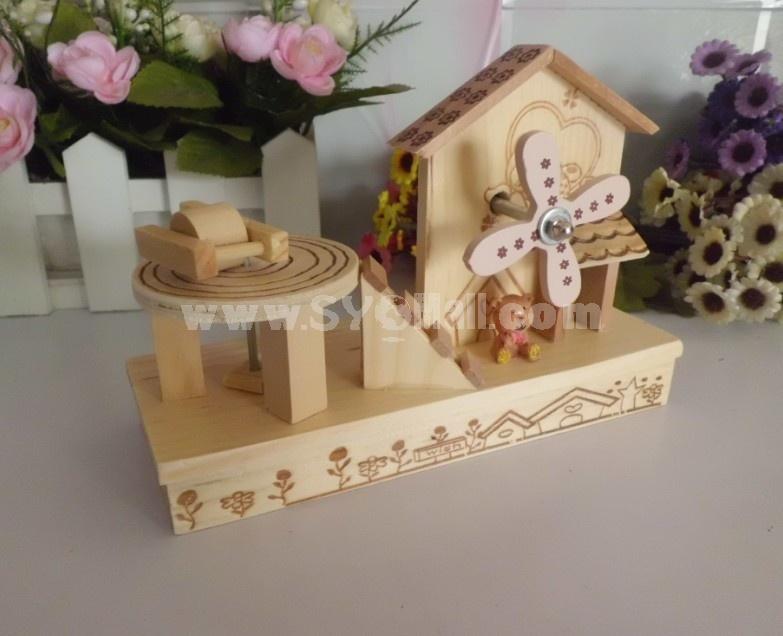 Decorative Wooden Windmill Pen Pot