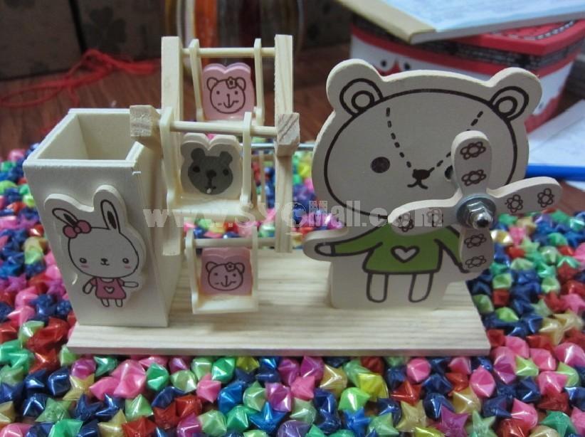 Decorative Wooden Cartoon Pen Pot with Music Box