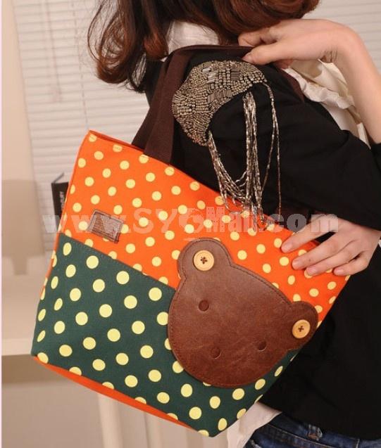 Stylish Charming Cute Bear B8Canvas Contrast Color Casual Bag DL543