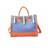Wholesale - Vintage Charming Contrast Color Canvas Casual Shoulder Bag DL042
