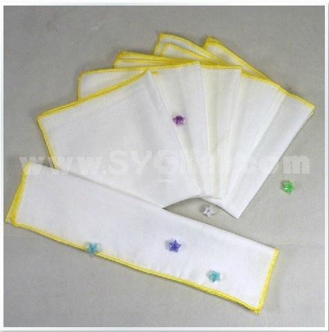 5PCS 25*26cm 100% Cotton Plain White Coler Saliva Towel Bib