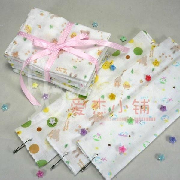 4PCS 30*30cm 100% Cotton Cartoon Saliva Towel Bib