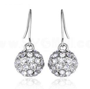 Exquisite Long Pattern Rhinestone Ball 18K Gold Plating Drop Earring