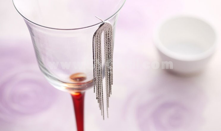 Women's Exquisite Long Pattern Tassels Elegant 18K Gold Plating Drop Earring