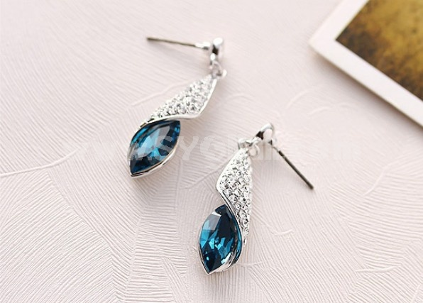 Exquisite Swarovski Element OL Crystal Pattern 18K Gold Plating Drop Earring
