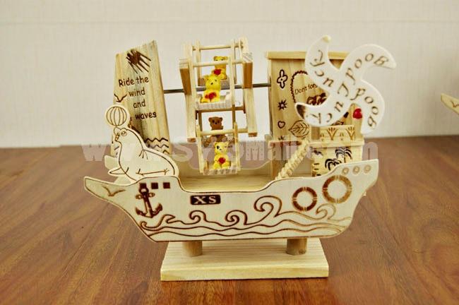 Decorative Mediterranean Style Wooden Sailing Windmill for Desk