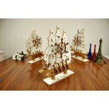 Wholesale - Decorative Mediterranean Style Wooden Sailing Model with Music Box for Desk