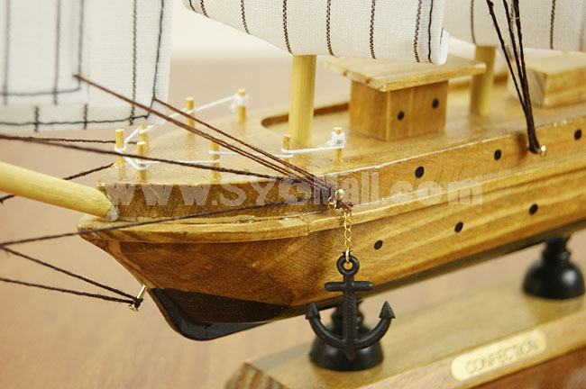 Decorative Mediterranean Style Large Size Wooden Sailing for Desk