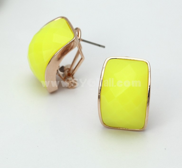 Exquisite Candy Color Square Water Drop Ear Stud