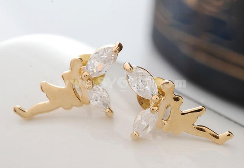 Exquisite Zircon Angel Gold Plating Ear Stud