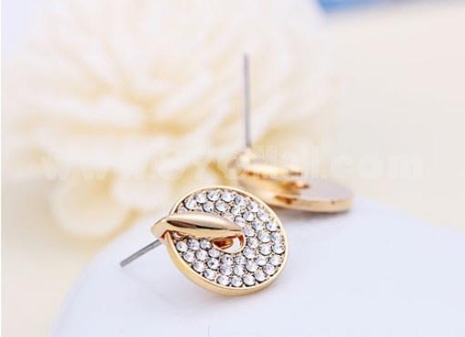 Exquisite Faddish Retro Rhinestone 18K Gold Plating Ear Stud