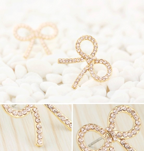 Exquisite Bowknot Diamond Gold Plating Ear Stud
