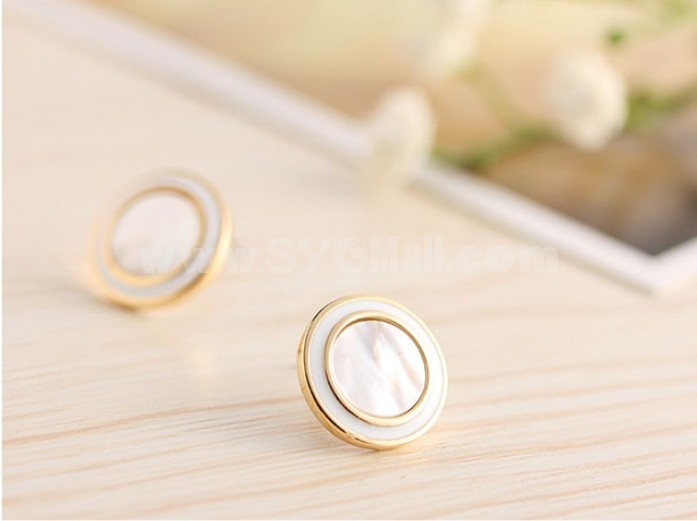 Exquisite OL Pattern Candy Color Gold Plating Ear Stud