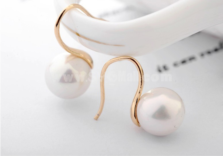 Exquisite Simple Pearl Pattern 18K Gold Plating Drop Earring